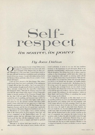 On Self-Respect