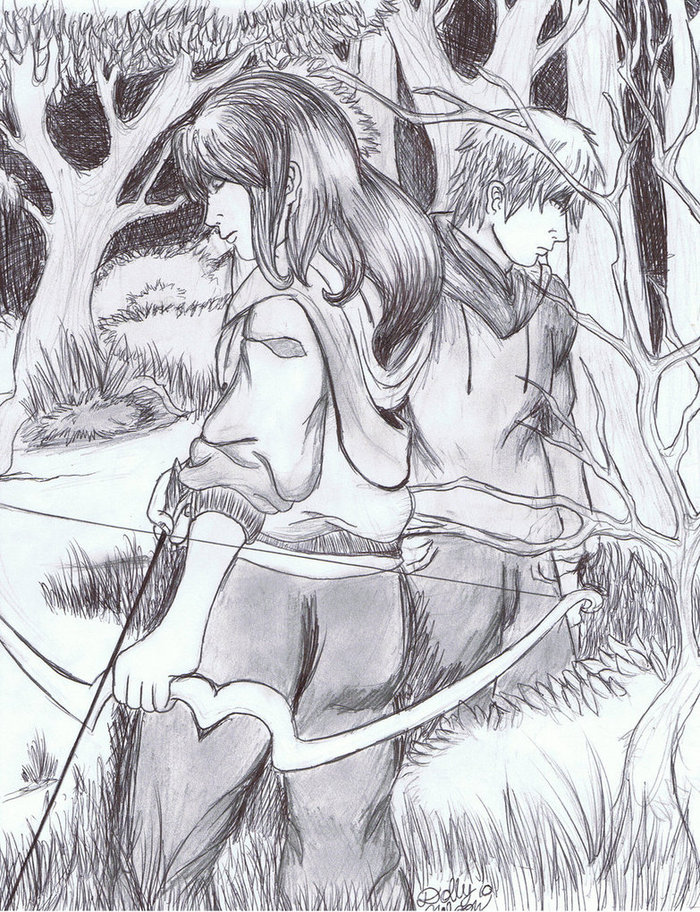 Found this on the internet too! I also re-drew this drawing but I have Katniss with a braid- might post it later.